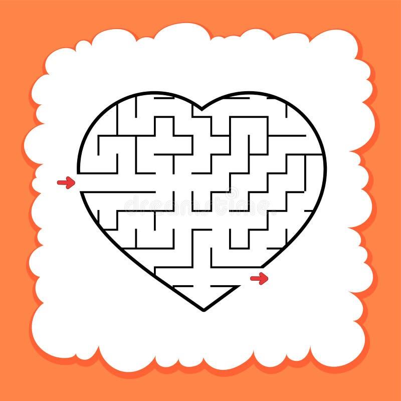 Coração abstrato do labirinto Dia do Valentim Jogo para miúdos Enigma para crianças Uma entrada, uma saída Enigma do labirinto Ve ilustração do vetor