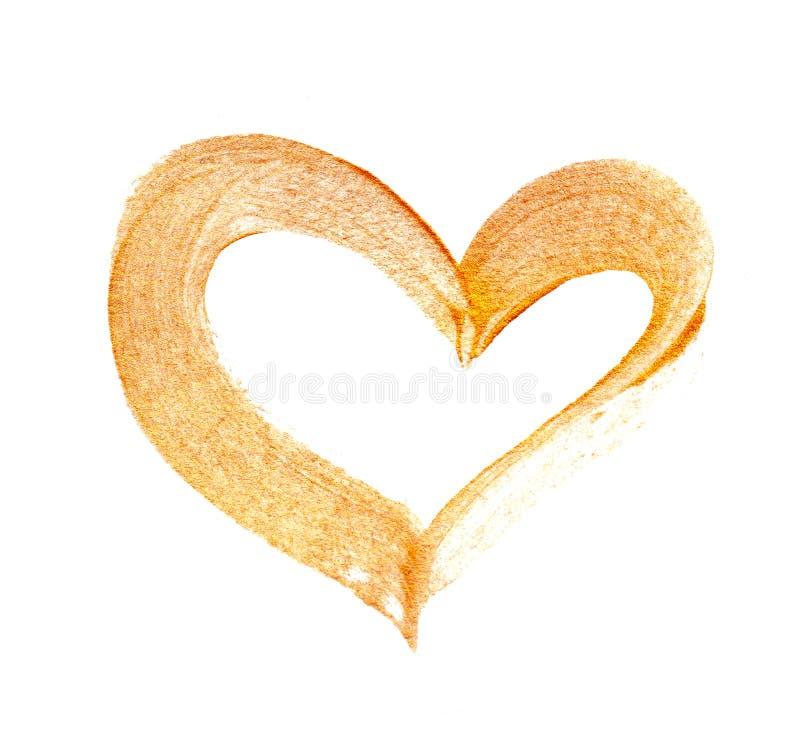Coração abstrato do ouro com a escova de pintura acrílica no fundo branco com lugar para seu texto foto de stock