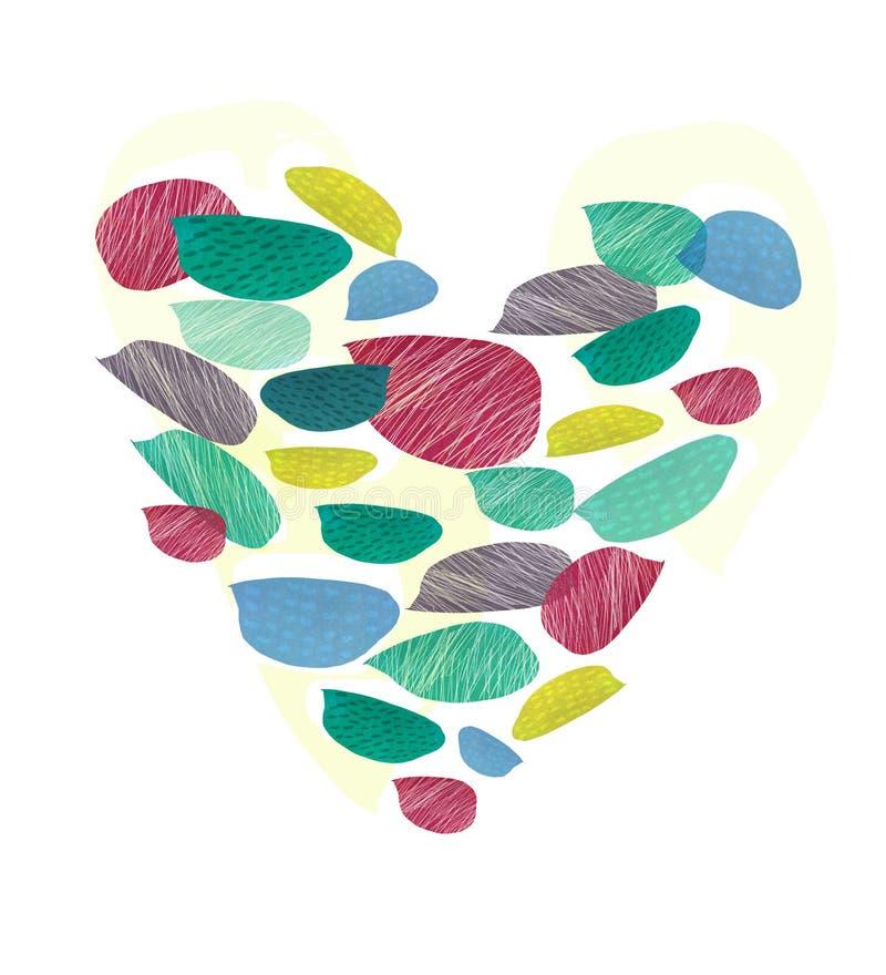 Coração abstrato em um fundo branco usando texturas diferentes Tema do dia do ` s do Valentim ilustração do vetor