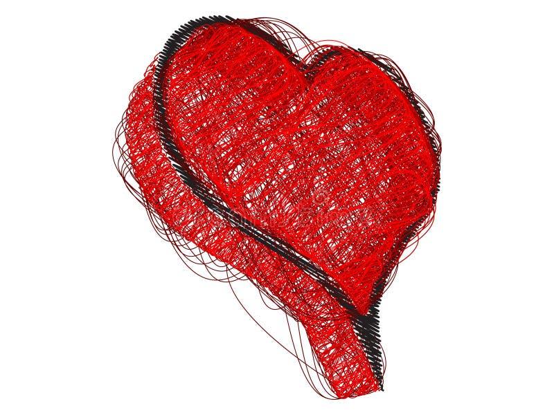 Coração abstrato feito com linhas ilustração stock