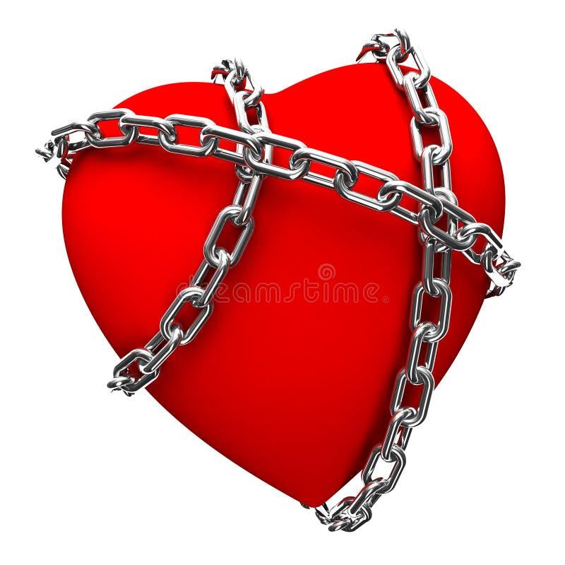 Coração acorrentado ilustração do vetor