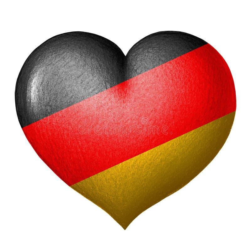 Coração alemão da bandeira Isolado no fundo branco ilustração do vetor