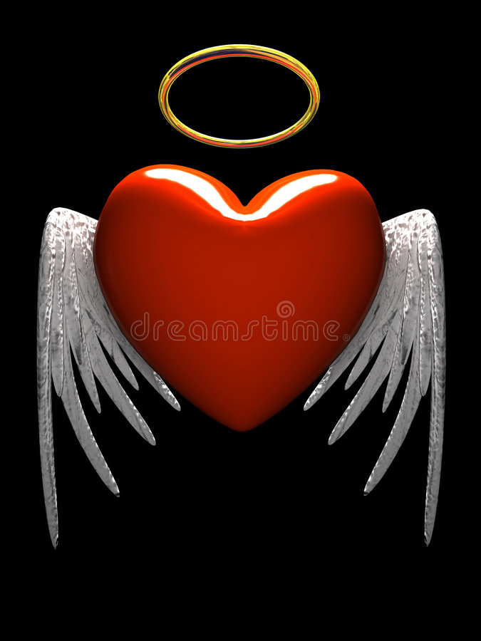 Coração-anjo vermelho com as asas isoladas no fundo preto ilustração stock