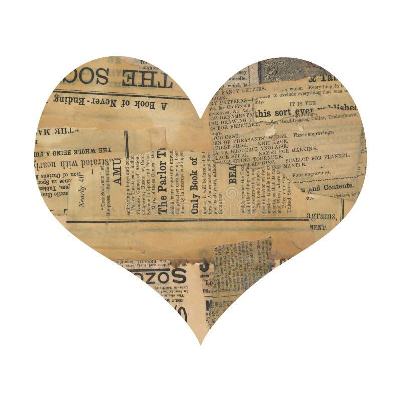 Coração antigo sujo da colagem do papel do jornal