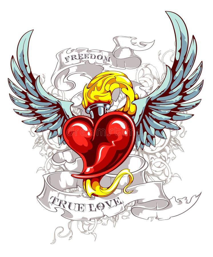 Coração ardente com asas ilustração stock