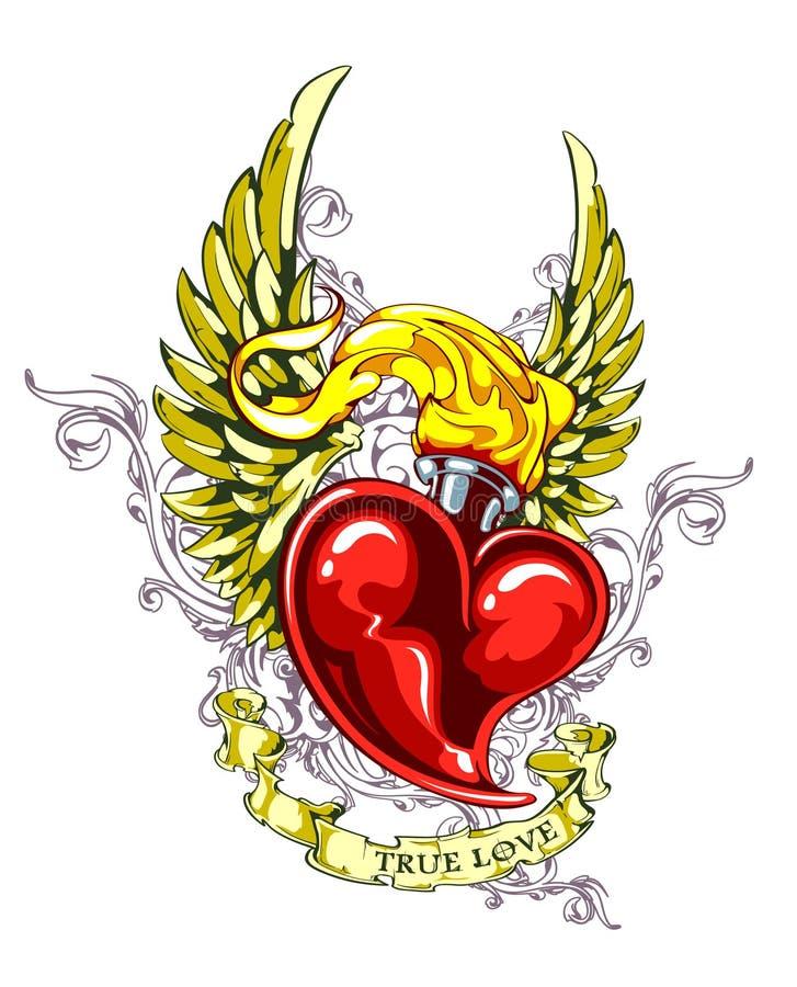 Coração ardente com asas ilustração royalty free