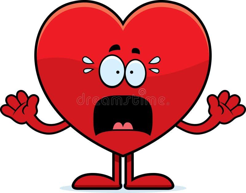 Coração assustado dos desenhos animados ilustração do vetor