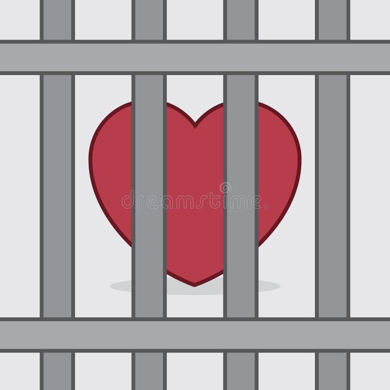 Coração atrás das barras ilustração do vetor