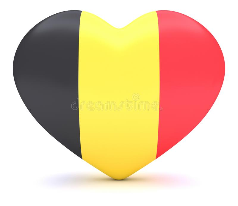 Coração belga da bandeira, ilustração 3d ilustração stock