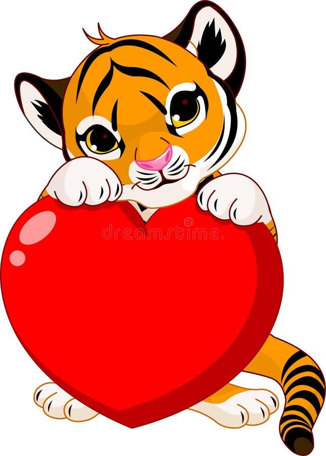 Coração bonito da terra arrendada do filhote de tigre ilustração do vetor