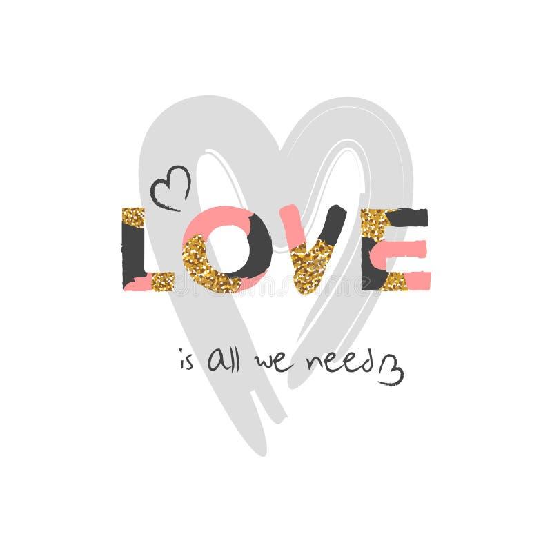 Coração bonito tirado mão Fonte criativa original do amor Cartão do projeto do dia do ` s do Valentim ilustração royalty free