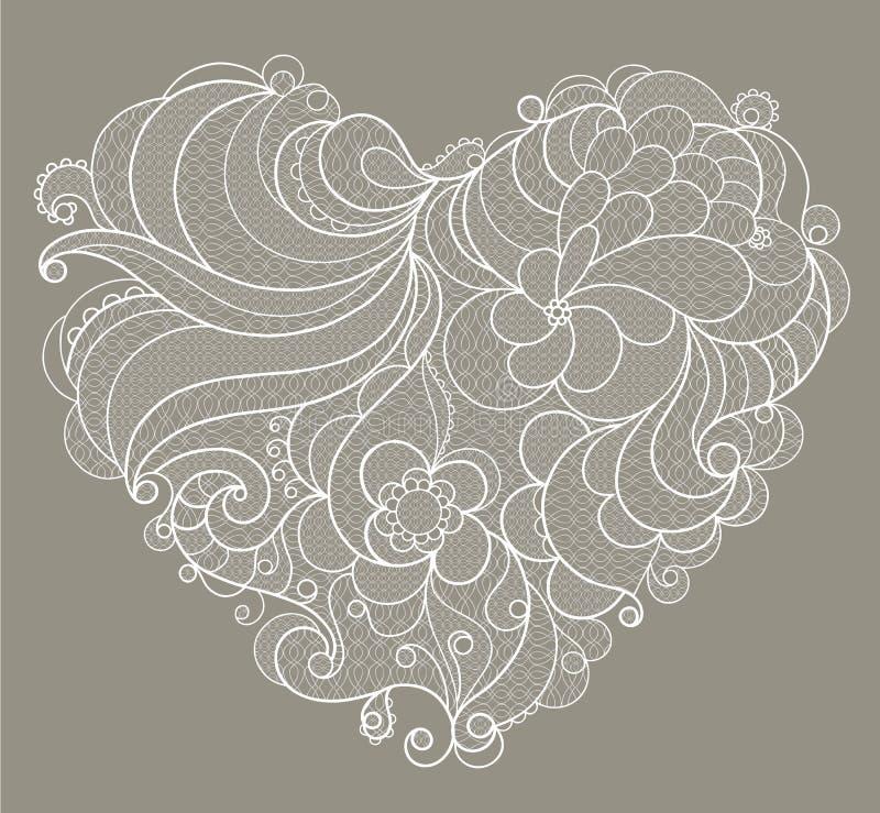 Coração bordado branco do laço com redemoinhos florais ilustração royalty free