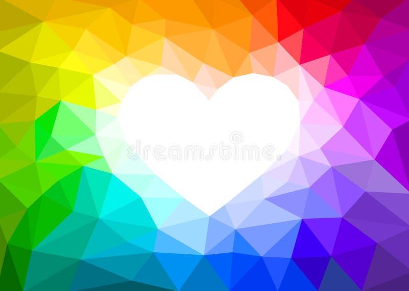Coração branco em um fundo abstrato das cores do arco-íris ilustração do vetor