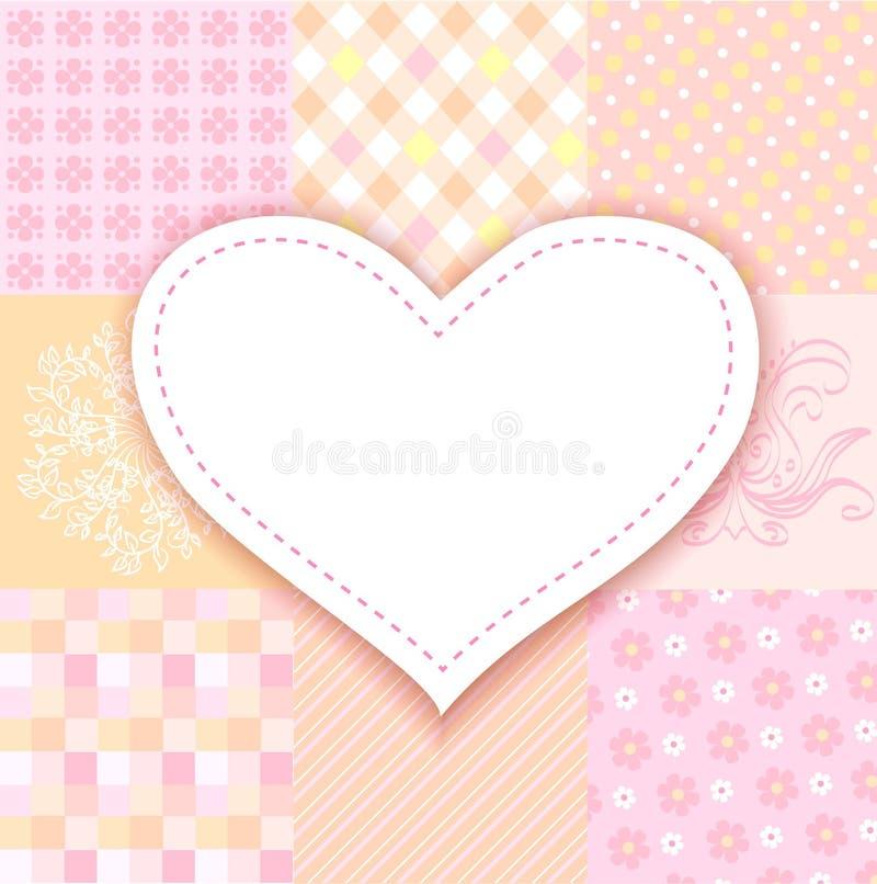 Coração branco. retalhos românticos do fundo ilustração do vetor
