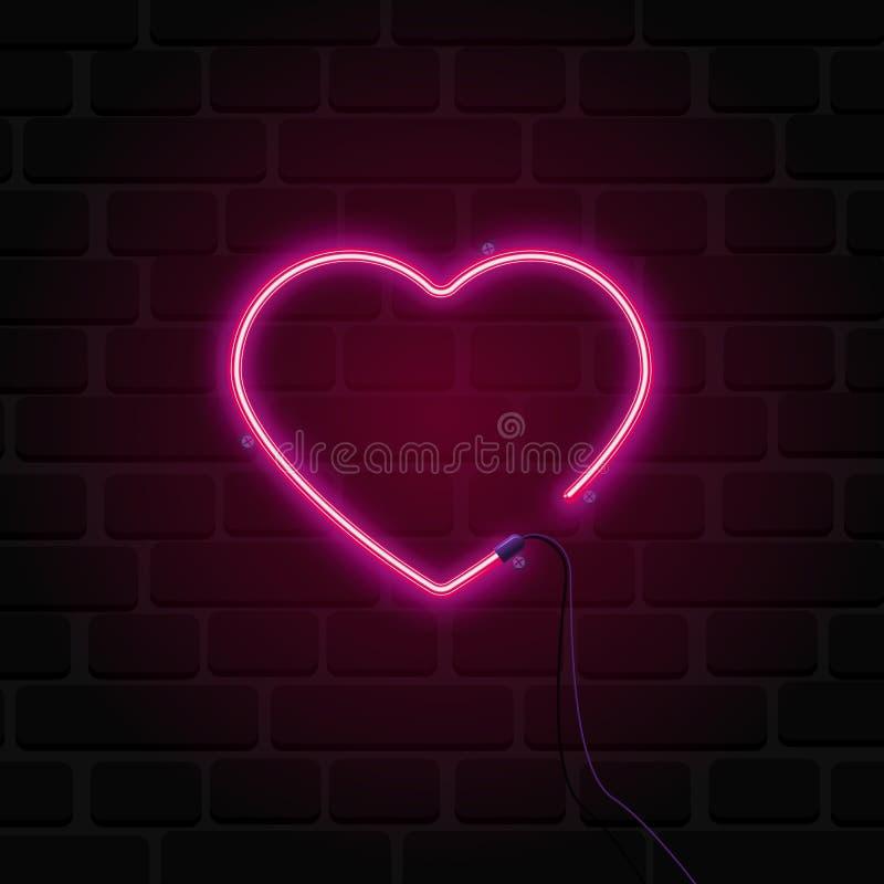 Coração brilhante Sinal de néon Sinal de néon retro do coração no fundo da parede de tijolo ilustração stock