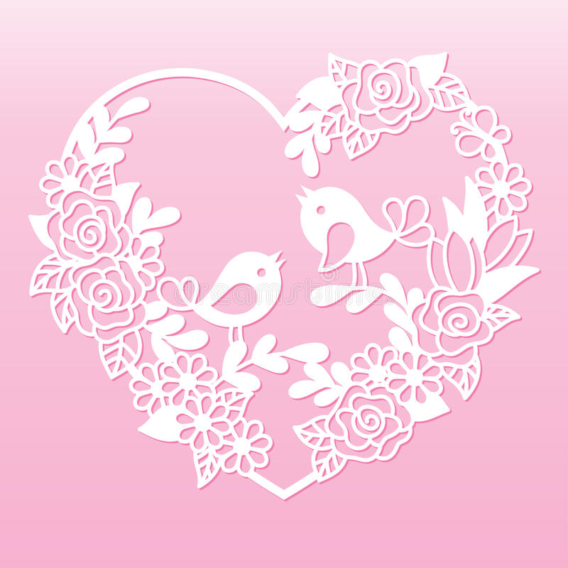 Coração a céu aberto com flores e pássaros Molde de corte do laser ilustração do vetor