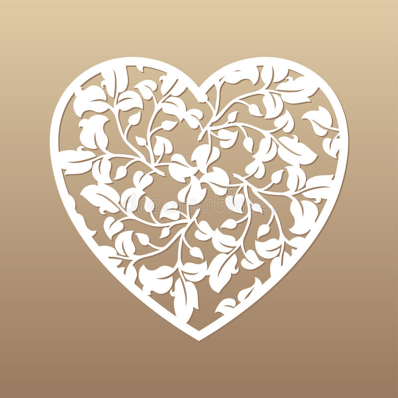 Coração a céu aberto com folhas Elemento decorativo do vetor Corte do laser ilustração stock