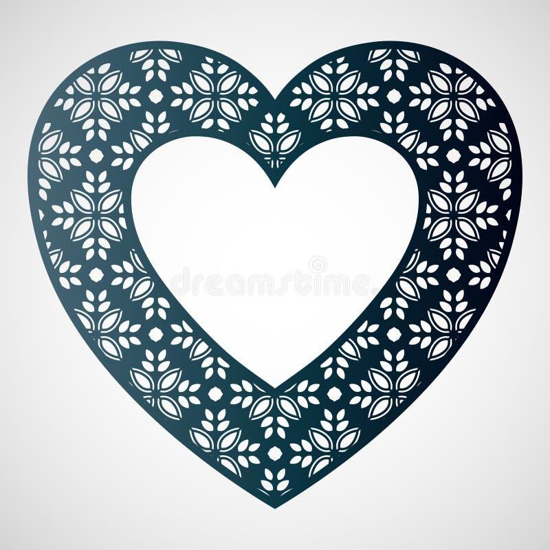 Coração a céu aberto com teste padrão floral Frame do vetor Molde de corte do laser ilustração royalty free