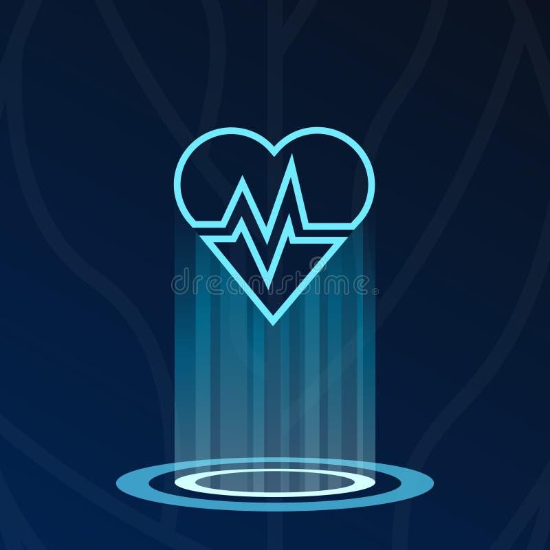 Coração, cardio- logotype do holograma do sinal ilustração do vetor