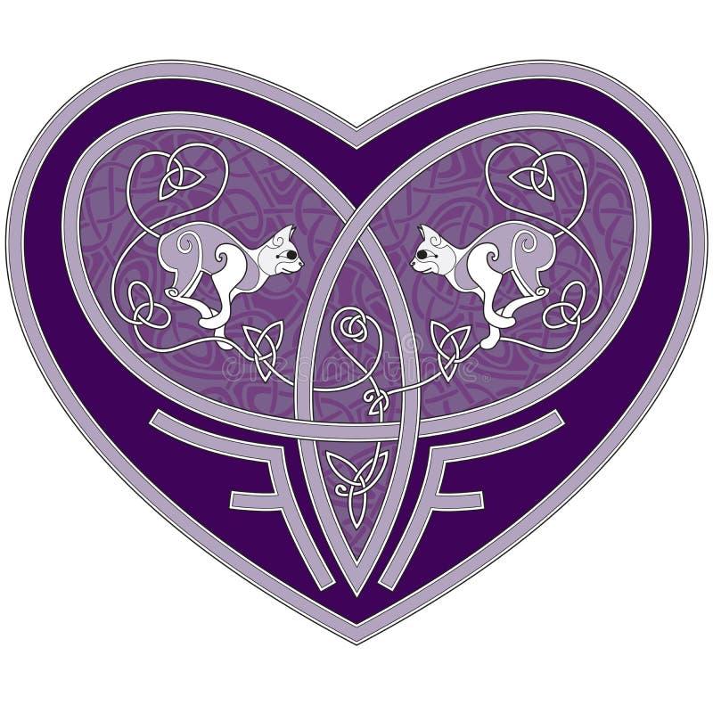 Coração celta com dois gatos para dentro ilustração stock