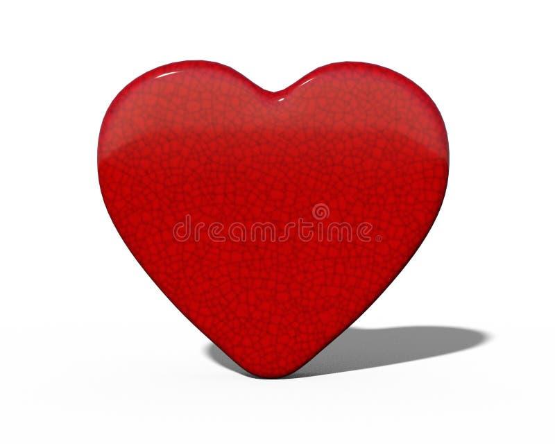 Coração cerâmico vermelho lustroso no fundo branco com sombra fotos de stock royalty free