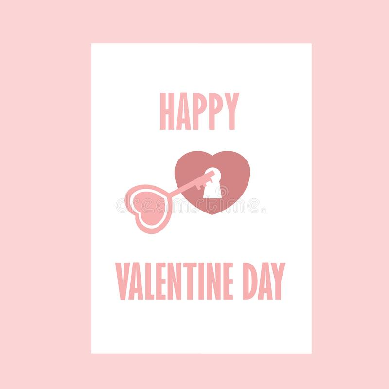 Coração chave Valentine Day With Color Pink feliz - romântico - eu te amo ilustração stock