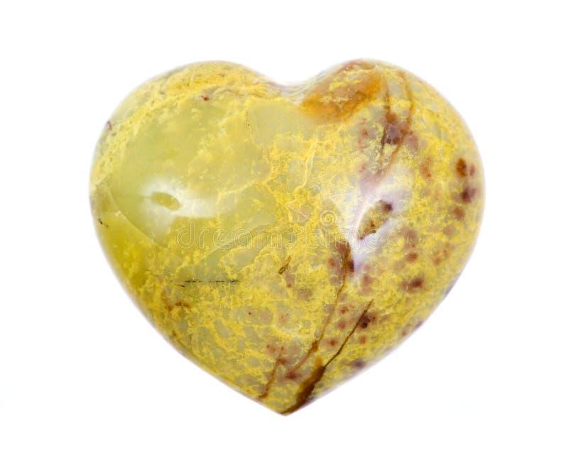 Coração cinzelado opala lustrado do verde de Madagáscar fotos de stock