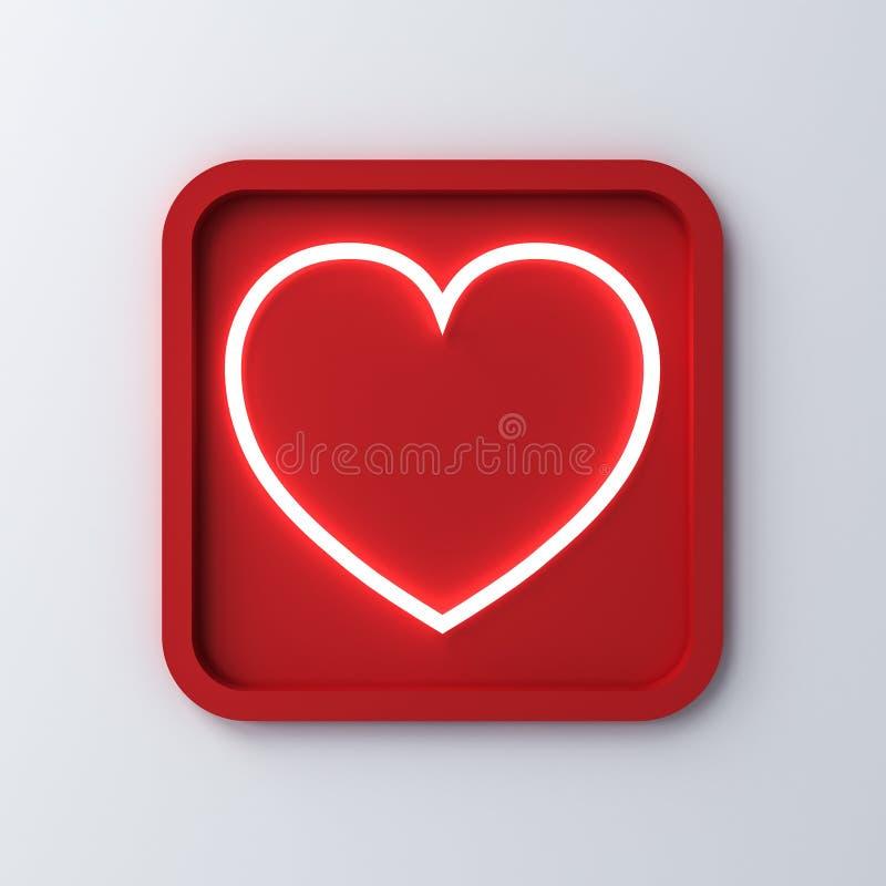 Coração claro de néon no botão quadrado arredondado do quadro ou do amor isolado no fundo branco com sombra para o conceito do di ilustração do vetor