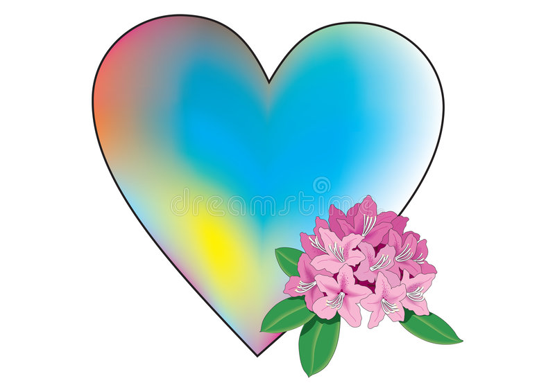 Coração colorido com flor ilustração stock