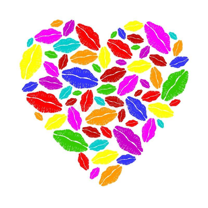 Coração colorido do batom ilustração do vetor