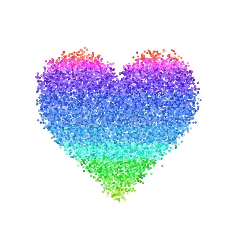Coração colorido do brilho ilustração stock
