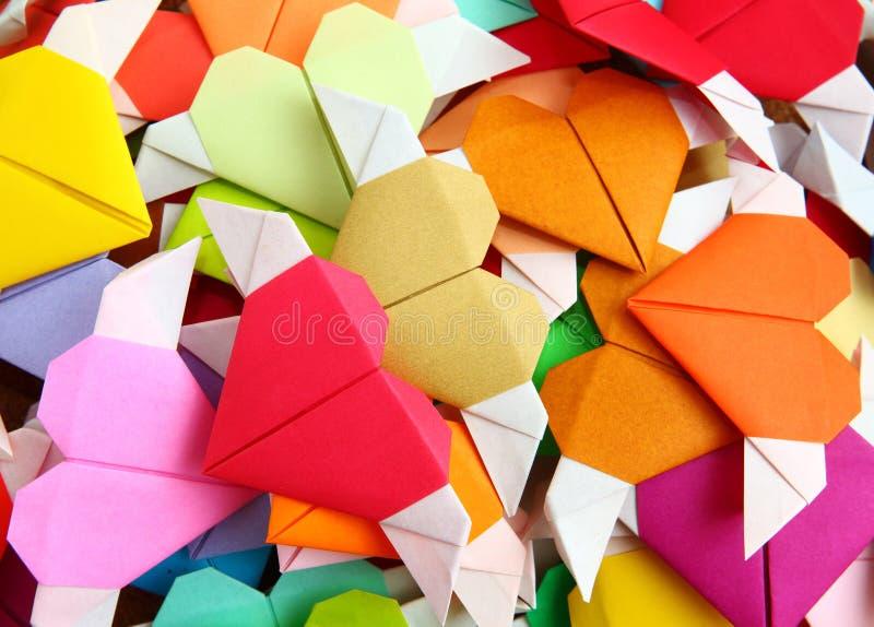 Coração colorido do origâmi imagem de stock royalty free
