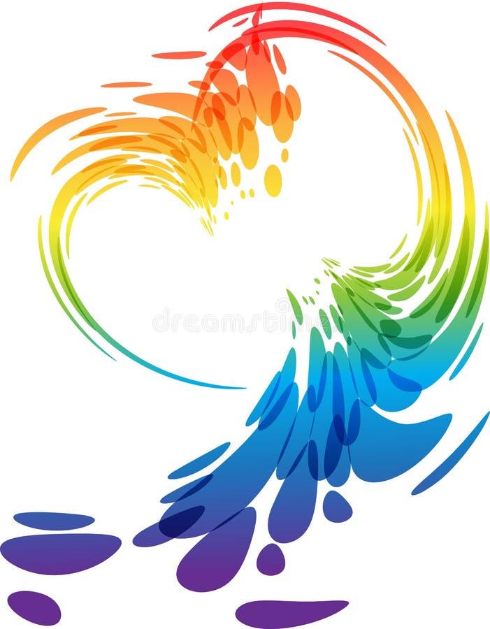 Coração colorido do respingo ilustração royalty free
