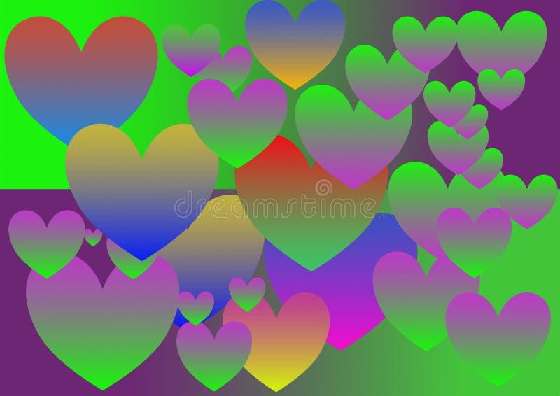 Coração colorido, inclinação, teste padrão, tamanhos múltiplos, estilo vívido, vetor ilustração do vetor