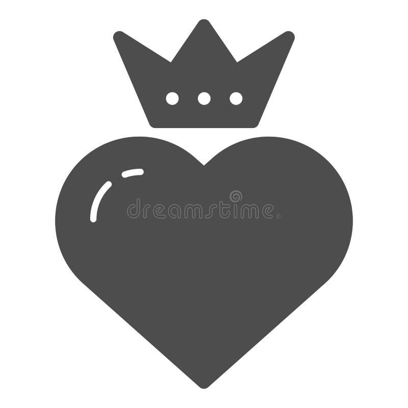 Coração com ícone contínuo da coroa Ilustração do vetor do coração dos Valentim isolada no branco Projeto do estilo do glyph do c ilustração do vetor