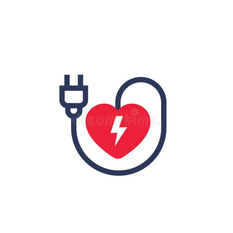 Coração com ícone da tomada elétrica no branco ilustração do vetor