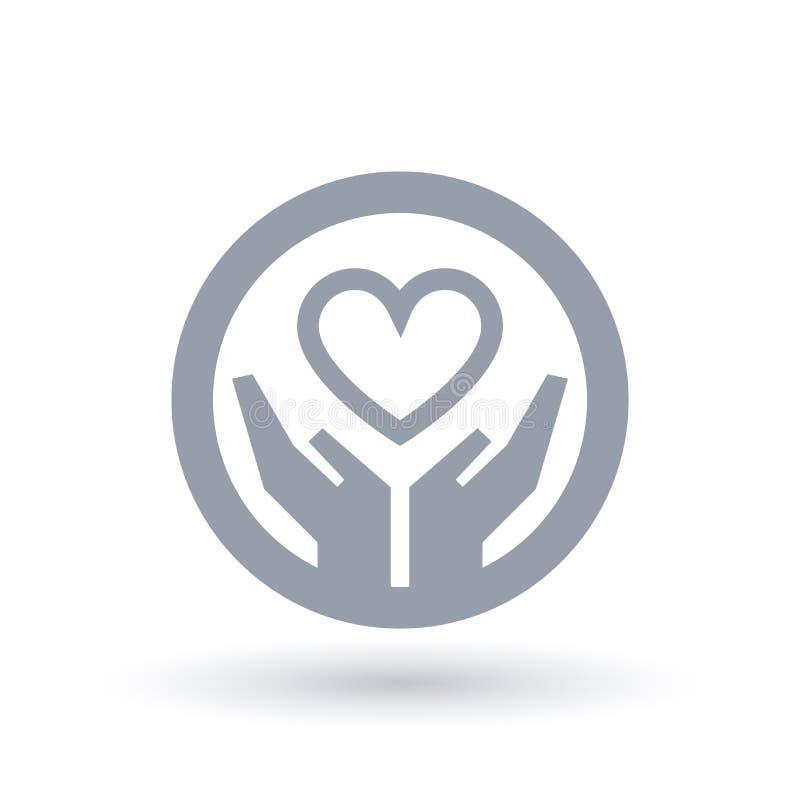 Coração com ícone das mãos Símbolo do amor da caridade ilustração do vetor