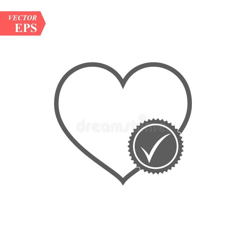 Coração com ícone do glyph da marca de verificação Cuidados médicos Símbolo da silhueta cardiology Espaço negativo Vetor isolado ilustração stock