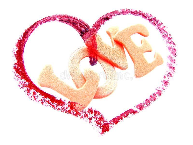 Coração com amor da palavra ilustração do vetor