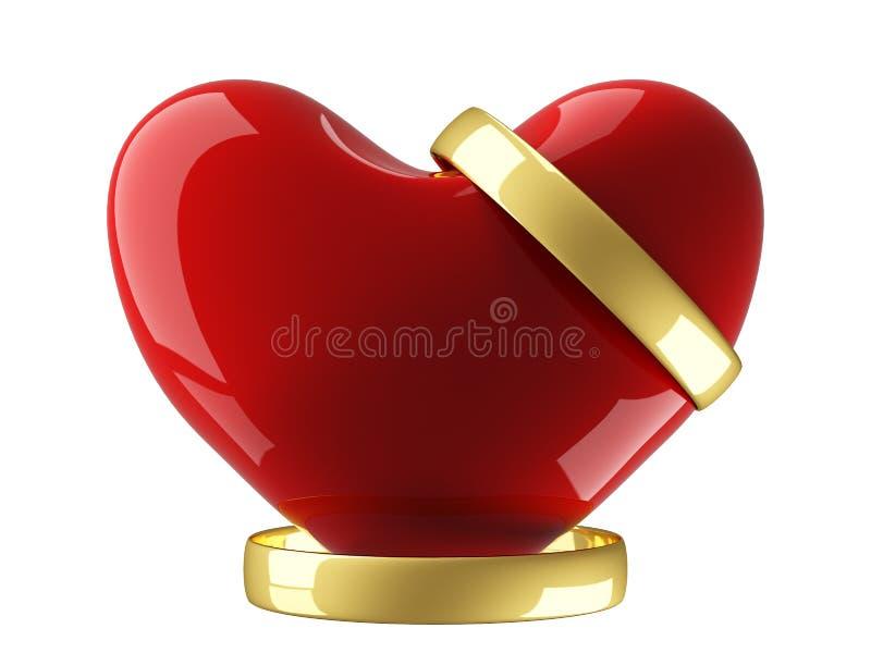 Coração com anéis de casamento em um fundo branco. ilustração royalty free