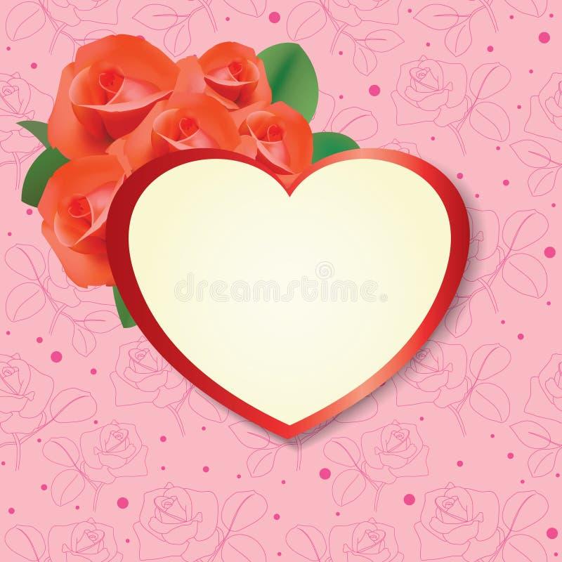 Coração com as rosas no fundo cor-de-rosa - cartão ilustração stock