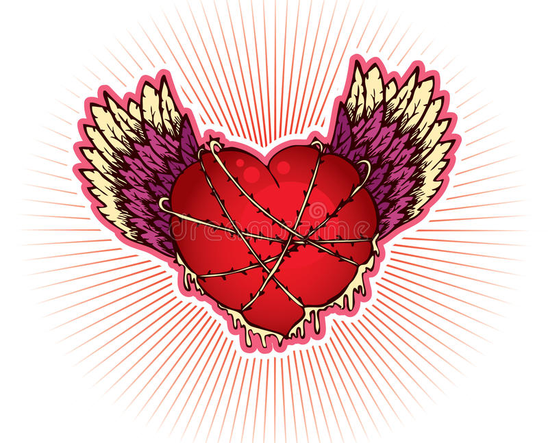 Coração com asas ilustração stock