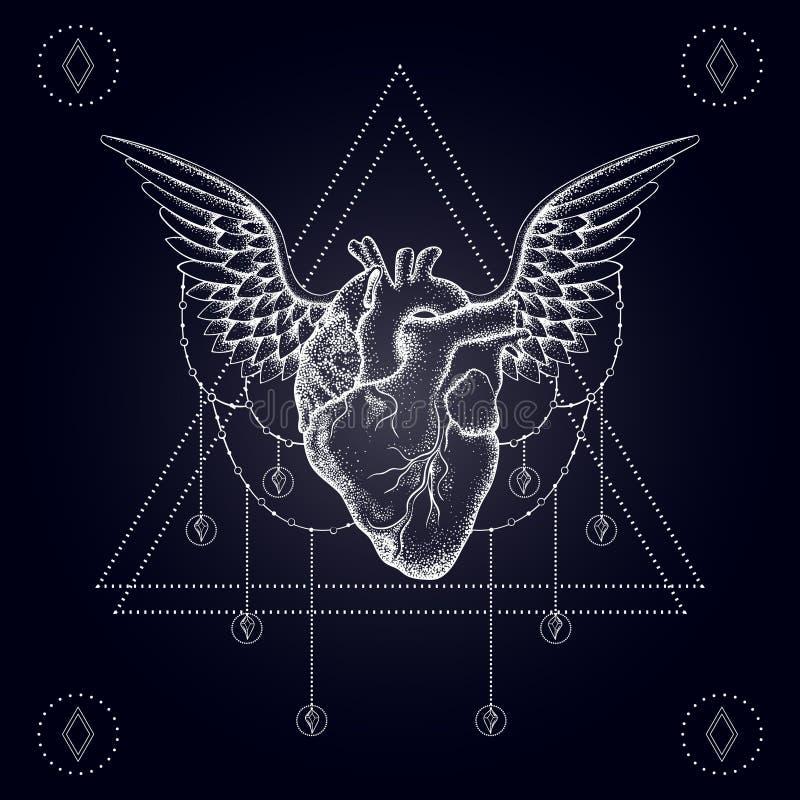 Coração com asas, blackwork do boho, tatuagem do dotwork ilustração stock