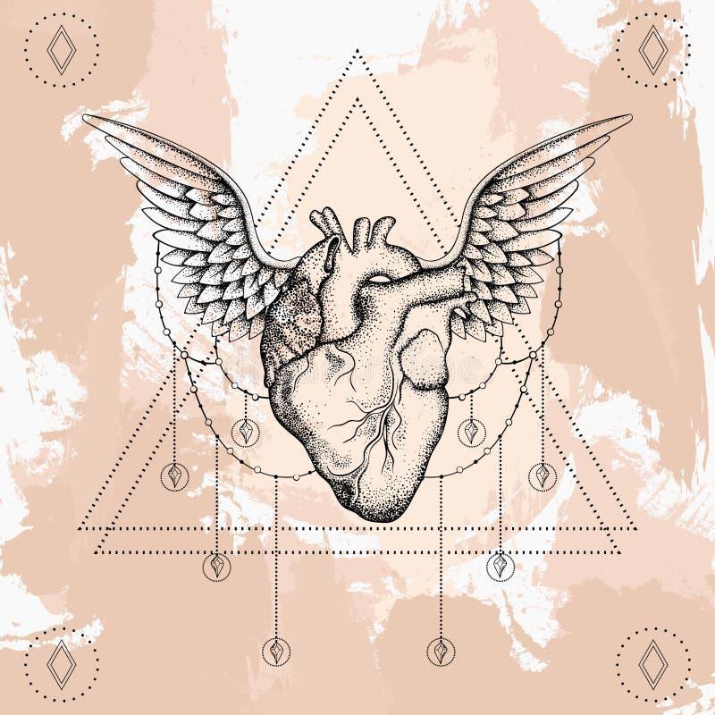 Coração com asas, blackwork do boho, tatuagem do dotwork ilustração royalty free