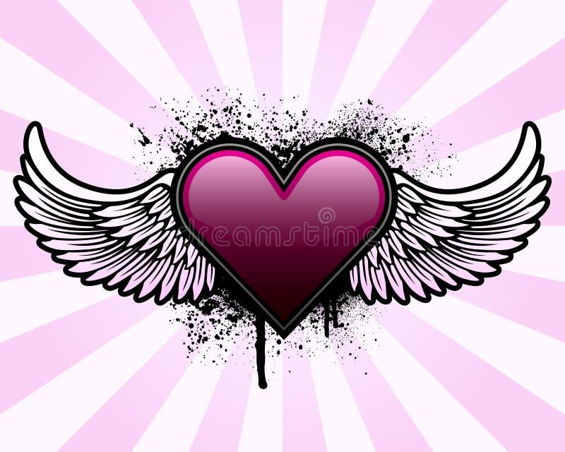 Coração com asas e fundo do grunge ilustração do vetor