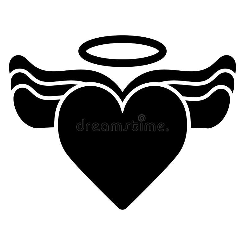 Coração com asas e halo no ícone superior do vetor Ilustração preto e branco do amor Ícone linear contínuo do coração ilustração stock