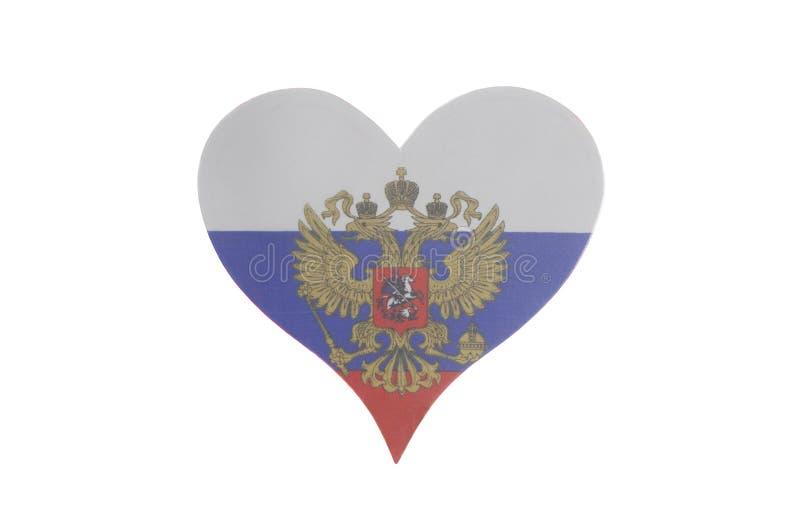 Coração com a bandeira da Federação Russa imagens de stock