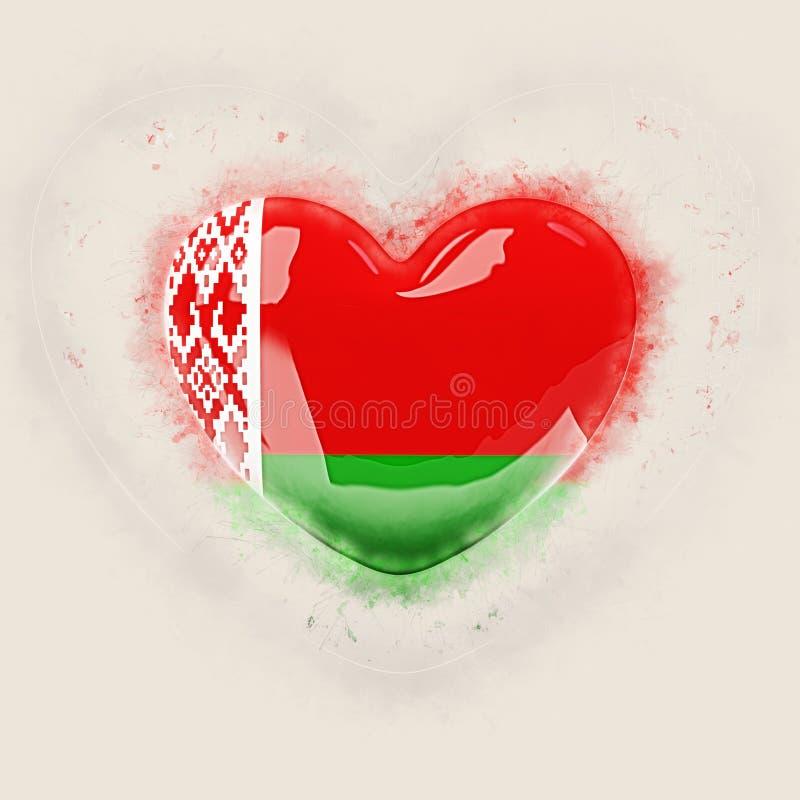 Coração com a bandeira de belarus ilustração do vetor