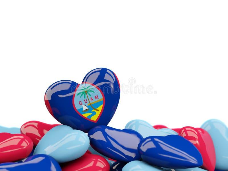 Coração com a bandeira de guam ilustração royalty free