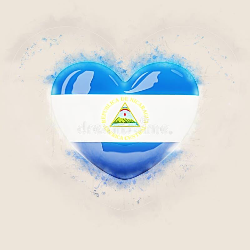 Coração com a bandeira de Nicarágua ilustração royalty free
